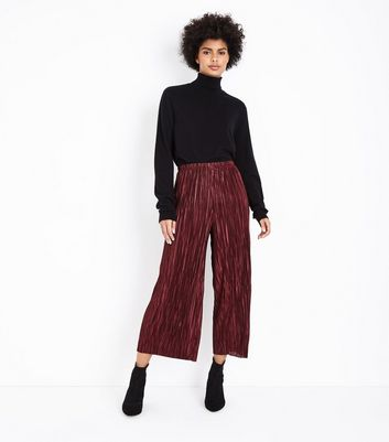 Burgundy Pleated Culottes