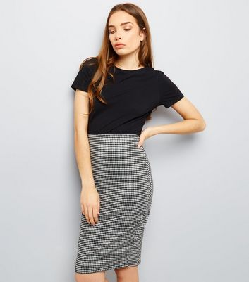 Black Gingham Pencil Skirt