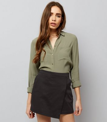 Black Wrap Front Cotton Mix Skort
