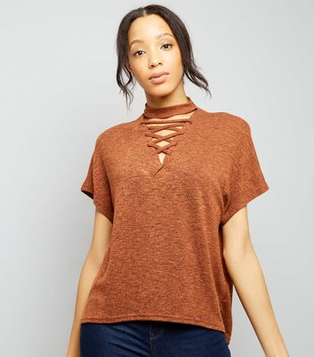 Brown Lattice Front Short Sleeve T-Shirt