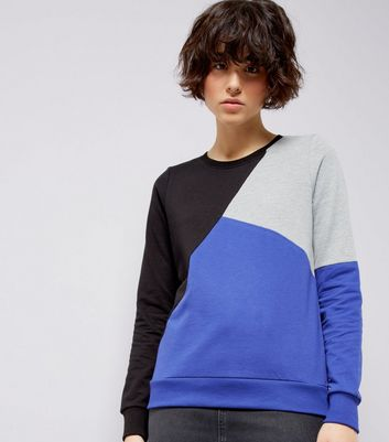 Noisy May Black Colour Block Sweater