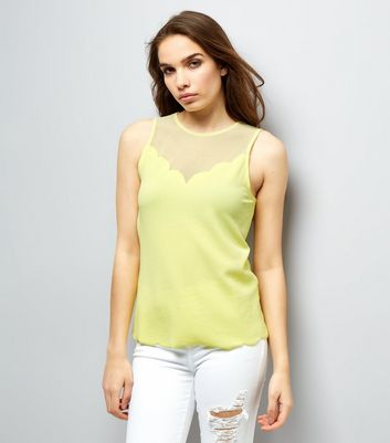 Yellow Mesh Panel Scallop Hem Sleevless Top