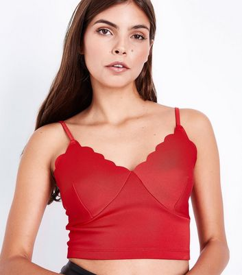 Red Scallop Trim Bralet