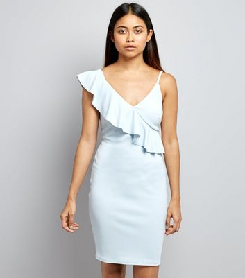 Petite Pale Blue Asymmetric Frill Trim Bodycon Dress