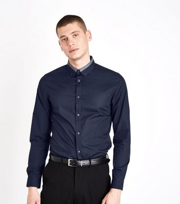 Navy Contrast Collar Long Sleeve Shirt