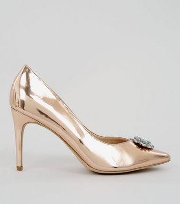 Rose Gold Metallic Crystal Front Heels