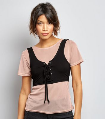 Innocence Shell Pink Mesh 2 in 1 Corset Top