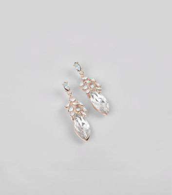 Silver Crystal Drop Stud Earrings