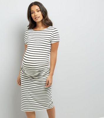 Maternity White Stripe Short Sleeve Midi Dress