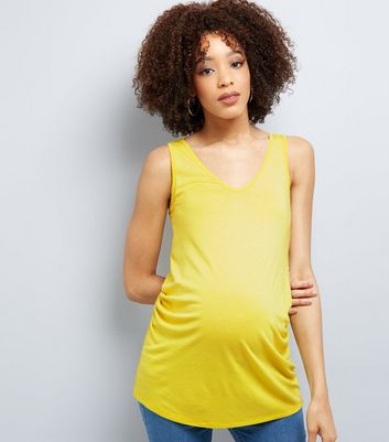 Maternity Yellow V Neck Longline Vest