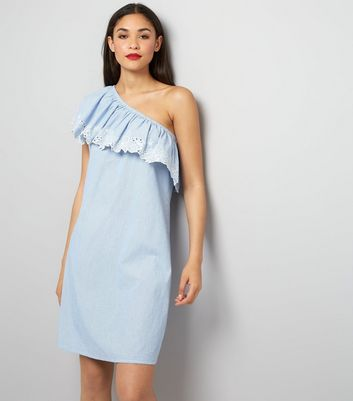 Tall Blue Stripe Floral Embroidered Asymmetric Frill Dress