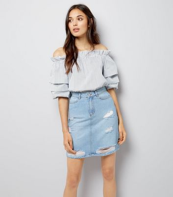 Tall Blue Ripped Denim Mini Skirt