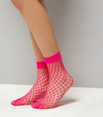 Bright Pink Oversized Fishnet Socks