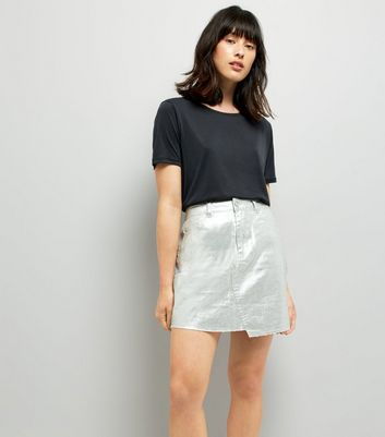 Silver Metallic Asymmetric Hem Skirt