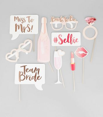 Gold and White Team Bride Photo Booth Props