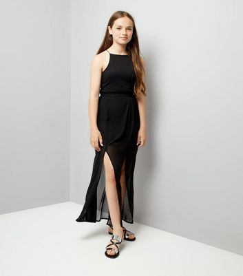 Teens Black Chiffon Maxi Skirt