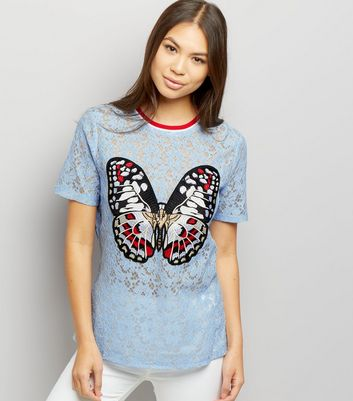 Anita and Green Blue Lace Embroidered Butterly T-Shirt