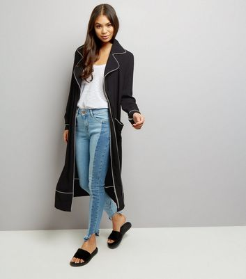 Anita and Green Black Contrast Trim Duster Coat