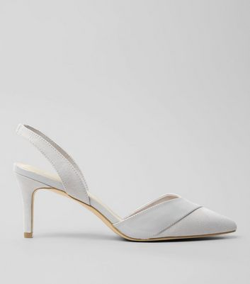 Wide Fit Grey Patent Trim Sling Back Heels
