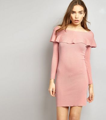 Blue Vanilla Pink Frill Trim Bardot Neck Dress