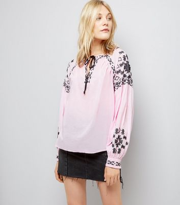 Pink Contrast Embroidered Smock Top