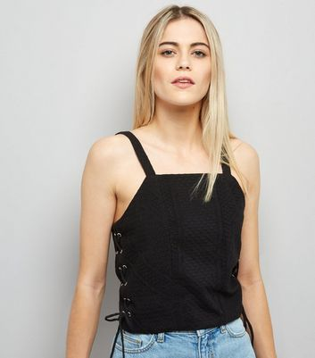 Black Lace Up Side Crop Top