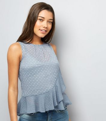 Blue Spot Print Frill Trim Chiffon Top