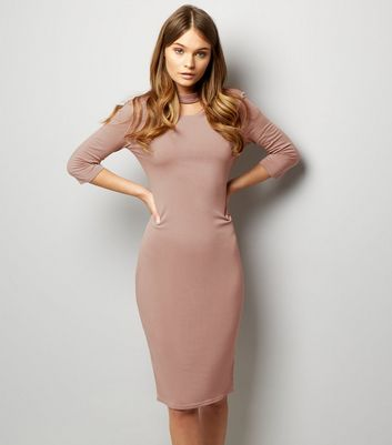 Pink Vanilla Mid Pink Choker Neck V Back Midi Dress