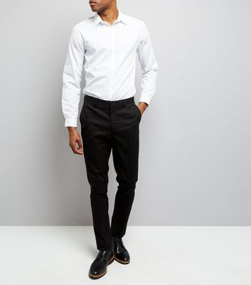 Black Cotton Skinny Tailored Trousers