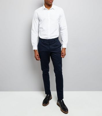 Navy Cotton Skinny Tailored Trousers