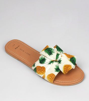 Wide Fit White Pineapple Print Bow Strap Mules