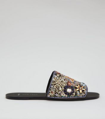 Wide Fit Black Embellished Mules