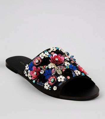 Black Floral Sequin Embellished Mules