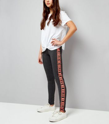 Teens Dark Grey No Rules Side Stripe Leggings