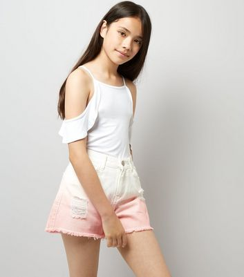 Teens Bright Pink Dip Dye Denim Shorts