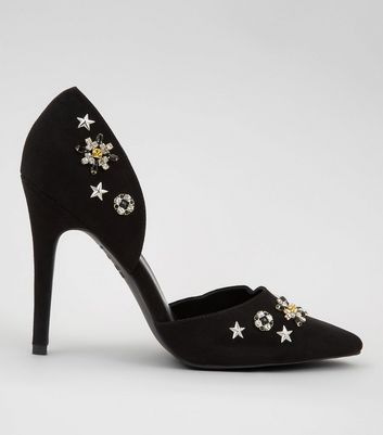 Black Suedette Embellished Pointed Heels