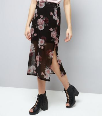 Black Rose Print Mesh Midi Skirt