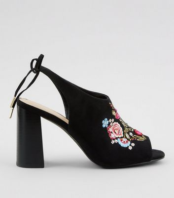 Black Floral Embroidered Heeled Mules