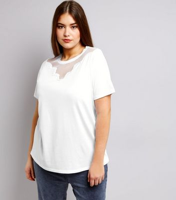 Curves White Mesh Yoke T-Shirt