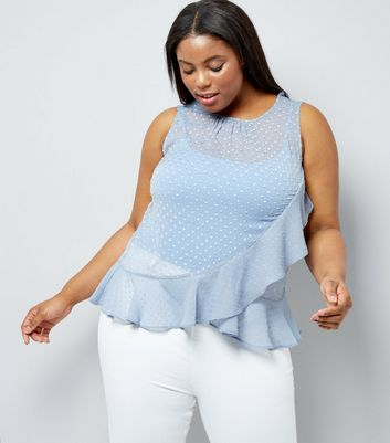 Curves Pale Blue Frill Trim Chiffon Top