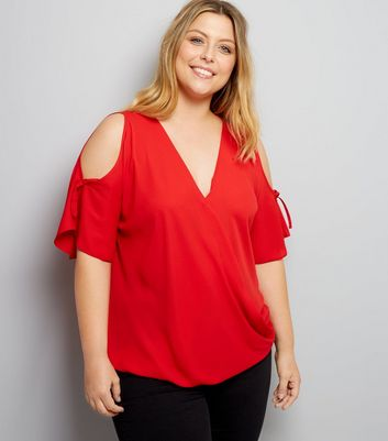 Curves Red Cold Shoulder Top