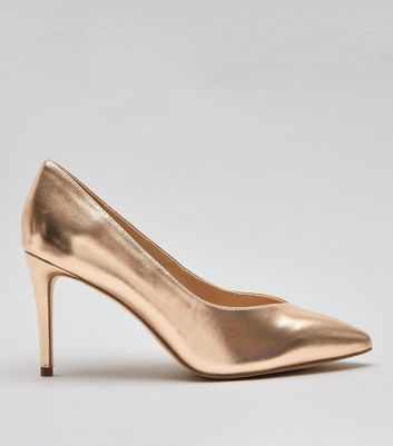 Wide Fit Rose Gold Metallic Pointed Heels