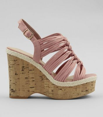 Wide Fit Nude Pink Wedge Heels