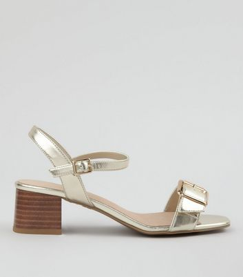 Wide Fit Gold Comfort Buckle Front Heeled Sandals