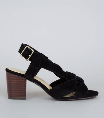 Wide Fit Black Suede Knot Front Block Heel Sandals