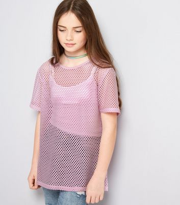 Teens Lilac Mesh Oversized T-Shirt