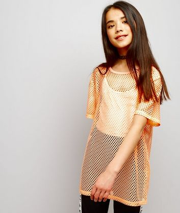 Teens Orange Mesh Oversized T-Shirt