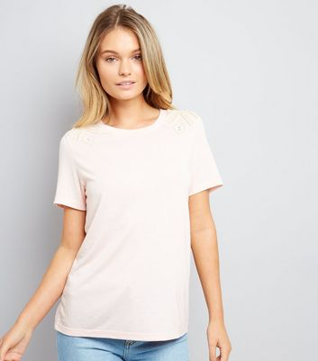 Shell Pink Diamante Pearl Shoulder T-Shirt