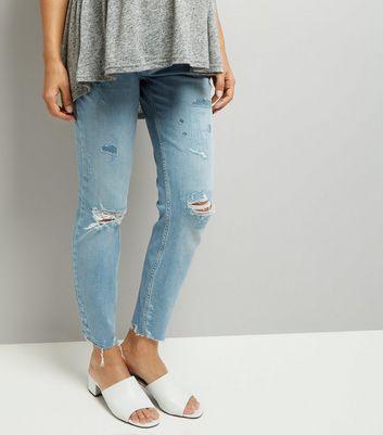 Maternity Blue Under Bump Ripped Relaxed Skinny Jeans
