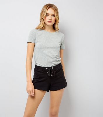 Black Lace Up Front Shorts